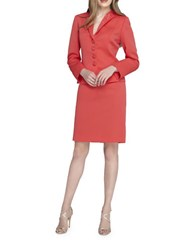 Tahari By Arthur S. Levine Two Piece Beaded Wing Collar Jacket Suit Set Coral