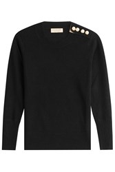 Burberry London Cashmere Pullover With Gilded Buttons Black