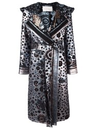 Peter Pilotto Metallic Leaf Print Coat Blue