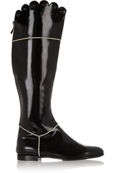Moschino Glossed Leather Knee Boots