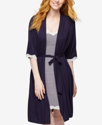 A Pea In The Pod Nursing Nightgown And Robe Navy Stripe