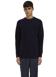 E.Tautz Raglan Sleeved Ribbed Knit Sweater Navy