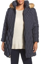 Jessica Simpson Plus Size Women's Quilted Puffer Coat With Faux Fur Trim Navy