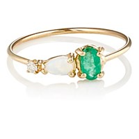 Loren Stewart Women's Emerald Opal And White Diamond Ring No Color