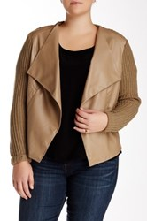 Bb Dakota Annette Faux Leather Panel Cardigan Plus Size Brown