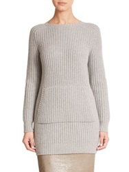 Max Mara Pesche Ribbed Knit Tunic Light Grey