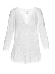 Velvet By Graham And Spencer Genesis Drop Shoulder Burnout Linen Top White