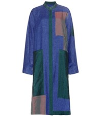 Acne Studios Clouet Patchwork Linen Shirt Dress Blue