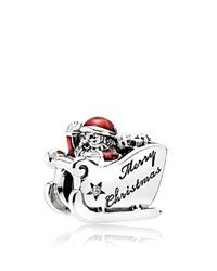 Pandora Design Charm Sterling Silver Red Enamel And Cubic Zirconia Sleighing Santa Moments Collection
