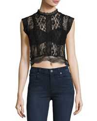 Romeo And Juliet Couture Sheer Lace Paneled Crop Top Black
