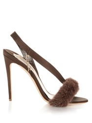 Olgana Paris L'amazone Mink Trimmed Satin Sandals Brown