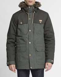 Iriedaily Olive And Grey Detachable Fur Eissegler Parka Green