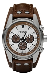 Fossil Chronograph Cuff Watch 44Mm Brown