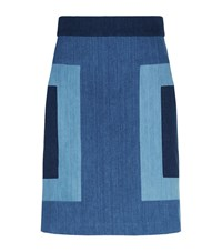 Escada Sport Colourblock Denim A Line Skirt Female Blue