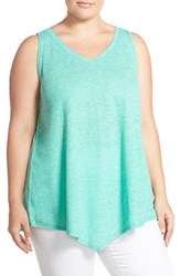Plus Size Women's Sejour 'Triangle' Sheer Knit V Neck Tank Teal Pool