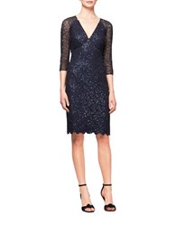 Kay Unger Sequined Mesh Sheath Dress Navy