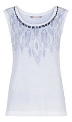 Sandwich Beaded Sleeveless Top Blue