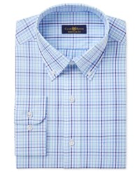 Club Room Men's Estate Classic Regular Fit Wrinkle Resistant Blue Mint Check Dress Shirt Only At Macy's