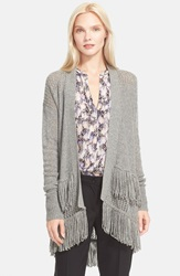 Rebecca Taylor Fringe Knit Cardigan Light Grey