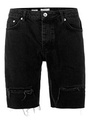 Topman Black Ripped Raw Edge Slim Denim Shorts