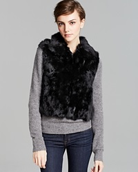 Surell Short Rabbit Fur Vest Black