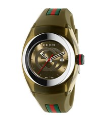 Gucci Sync Khaki Small Stainless Steel Rubber Strap Watch 36Mm
