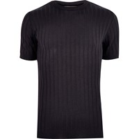 River Island Mens Navy Chunky Ribbed Muscle Fit T Shirt
