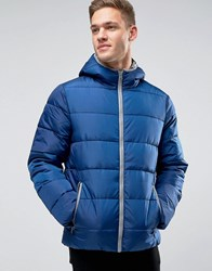 United Colors Of Benetton Padded Jacket With Hood Blue 33D