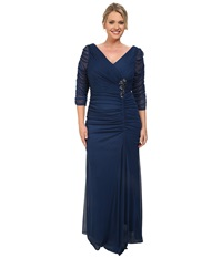 Adrianna Papell Plus Size 3 4 Sleeve Side Drape Gown Twilight Women's Dress Blue
