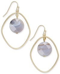 Inc International Concepts Gold Tone Semi Precious Orbit Drop Earrings Only At Macy's Brown Agate