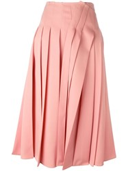 Rochas Pleated Midi Skirt Pink Purple