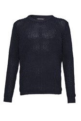 French Connection Men's Waffle Stitch Knits Jumper Blue