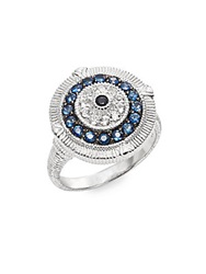 Judith Ripka Lucky Blue White And Black Sapphire Evil Eye Ring Silver Blue