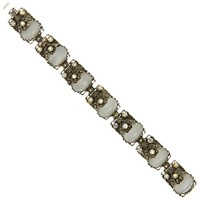 Eclectica Vintage 1950S Silver Plated White Cabochon Filigree Bracelet Silver