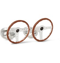 Deakin And Francis Steering Wheel Enamelled Sterling Silver Cufflinks Brown