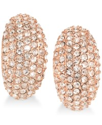 Carolee Rose Gold Tone Pave Clip On Earrings