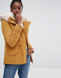 Only Short Parka Jacket With Faux Fur Hood Rubber Yellow