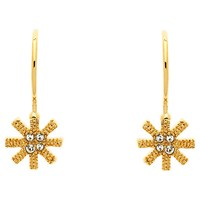 Cachet Snowflake Swarovski Crystal Drop Earrings Gold