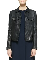 The Row Washed Leather Trucker Jacket Dark Navy