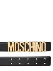 Moschino 35Mm Logo Lettering Leather Belt