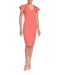 Badgley Mischka Pleated Shoulder Dress Bright Coral