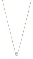 Shashi Solitaire Necklace Rose Gold Clear