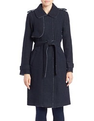Vince Camuto Long Wool Blend Trench Coat Navy Dark Blue