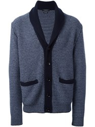Ermenegildo Zegna Woven Button Down Cardigan Blue