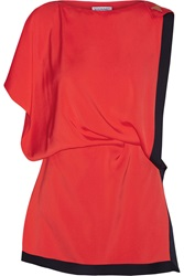Vionnet Draped Satin Trimmed Silk Top Red