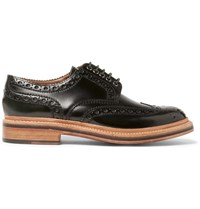 Grenson Archie Triple Welted Polished Leather Wingtip Brogues Green