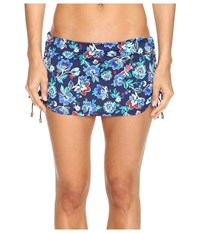 Tommy Bahama Folk Floral Shirred Skirted Hipster Bikini Bottom Mare Navy Women's Swimwear