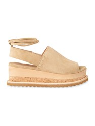 Whistles Rada Suede Wedge Sandals Stone