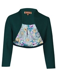 Jolie Moi High Collar Bolero Jacket Dark Teal