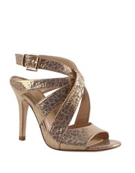 Kay Unger Sussex Gold Embossed Leather Sandals
